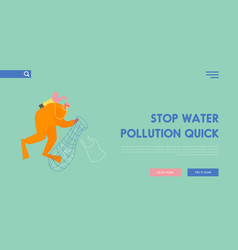 environmental disaster pollution sea with vector image
