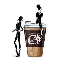 Fashion girl in sketch-style with cup of cofe vector