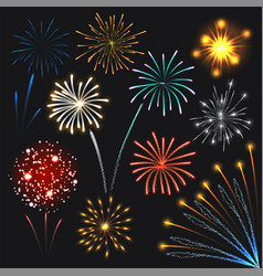 Fireworks set colorful explosions realistic style vector