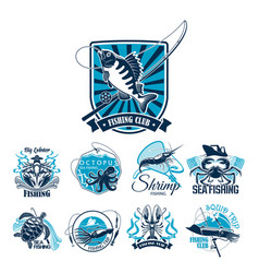 fishing sport club badge set with fish and boat vector image