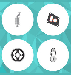 flat parts set of gasket silencer belt and other vector image