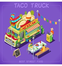 Food Truck 07 Vehicle Isometric vector image