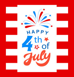 Fourth of july poster with hand written lettering vector
