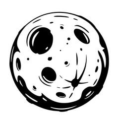 full moon cartoon black and white vector image