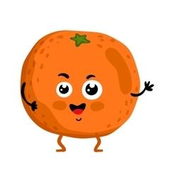 Funny fruit orange isolated cartoon character vector image