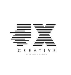 Fx f x zebra letter logo design with black and vector