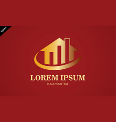 gold home business finance logo vector image