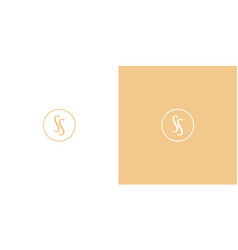 gold premium ss monogram logo in a circle vector image