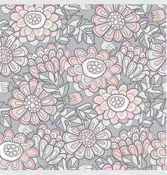 Hand drawn naive autumn flowers seamless pattern vector