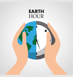 Hand holding earth hour clock protection eco vector