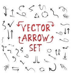 Handdrawn Handmade Arrow Set Isolated on vector