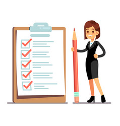 happy woman holding pencil at giant schedule vector image