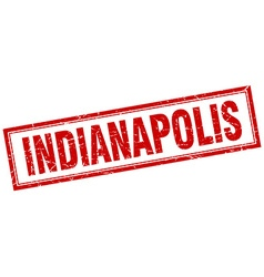 Indianapolis red square grunge stamp on white vector