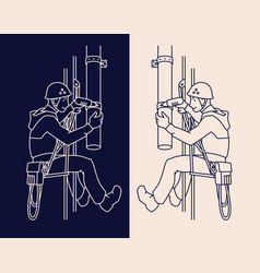 Industrial climber in uniform and helmet mends vector