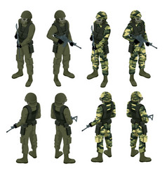 Isometric a soldier in a gas mask and with a gun vector