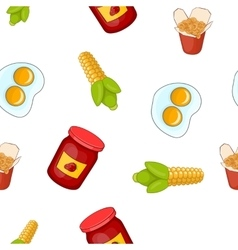 Junk food pattern cartoon style vector image