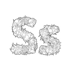 letter s made of flowers vector image