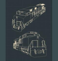 locomotive blueprint vector image