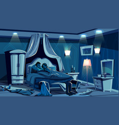 Lovers sleep in bed bedroom night lamps vector
