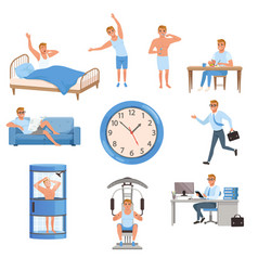 Man in different situations day time waking up vector