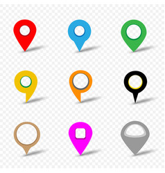 map pin set on transparent background vector image