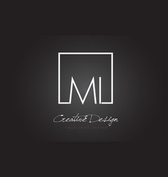 Mi square frame letter logo design with black and vector