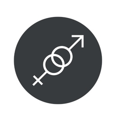 Monochrome round gender signs icon vector image