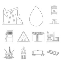 oil industry outline icons in set collection for vector image