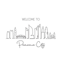 One single line drawing panama city skyline vector