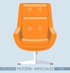 Orange modern armchair over light background Digit vector image