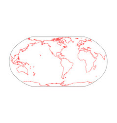 Outline map world americas centered simple vector