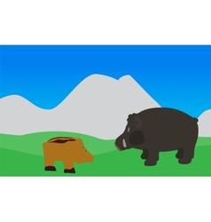 Pig Walks Eats the Grass EPS10 vector
