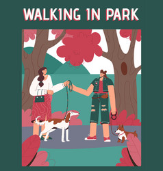 poster walking in park concept vector image