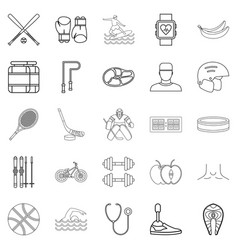 professional icons set outline style vector image