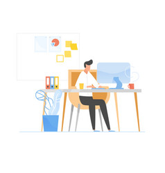 programmer or coder sitting at desk and working on vector image