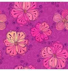 Purple doodle flowers seamless pattern vector