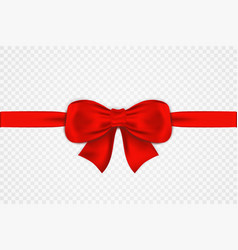 red satin bow and horizontal ribbon isolated on vector image