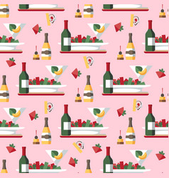 restaurant meal and drinks seamless pattern vector image