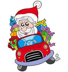 santa claus driving car vector image