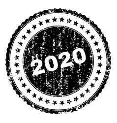 Scratched textured 2020 stamp seal vector
