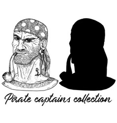 sea captain pirate or boatswain and silhouette vector image