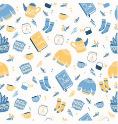 Seamless pattern with hygge concept items vector