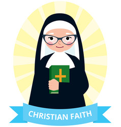 Senior nun with a bible in hand vector