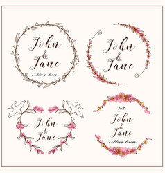 set florals decorative wreaths with branches frame vector image