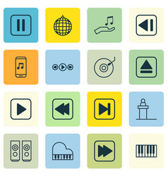 Set of 16 music icons includes start song audio vector