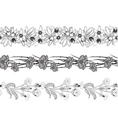 Set of 3 black and white seamless floral brushes vector