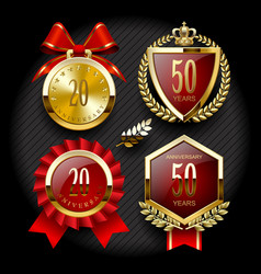 Set of anniversary labels and classic gold tags vector