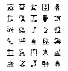 set of manufacturings robotics vector image