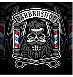 Skull babershop esport mascot logo vector