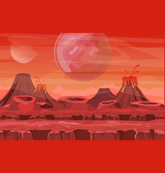 Space landscape with red vector